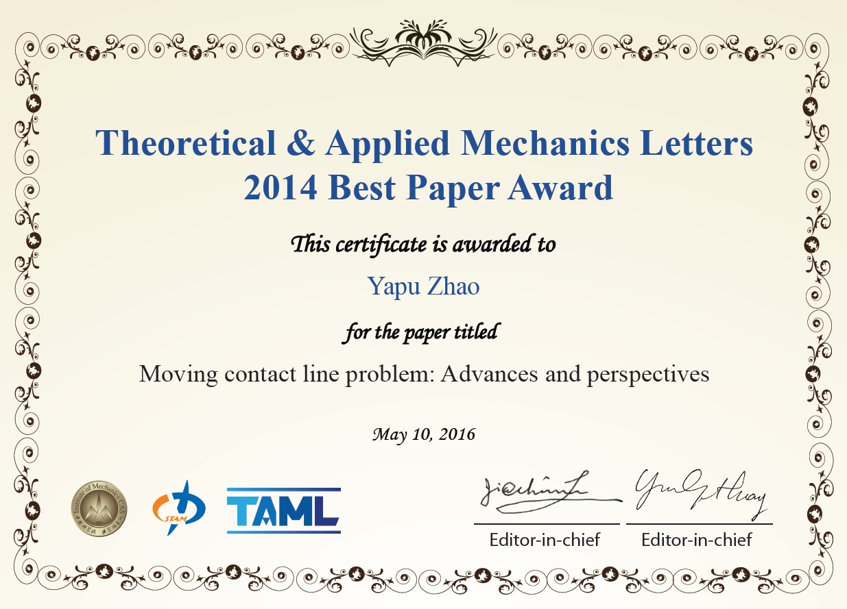 Congratulations to Theoretical & Applied Mechanics Letters 2014 Best Paper Award Winners