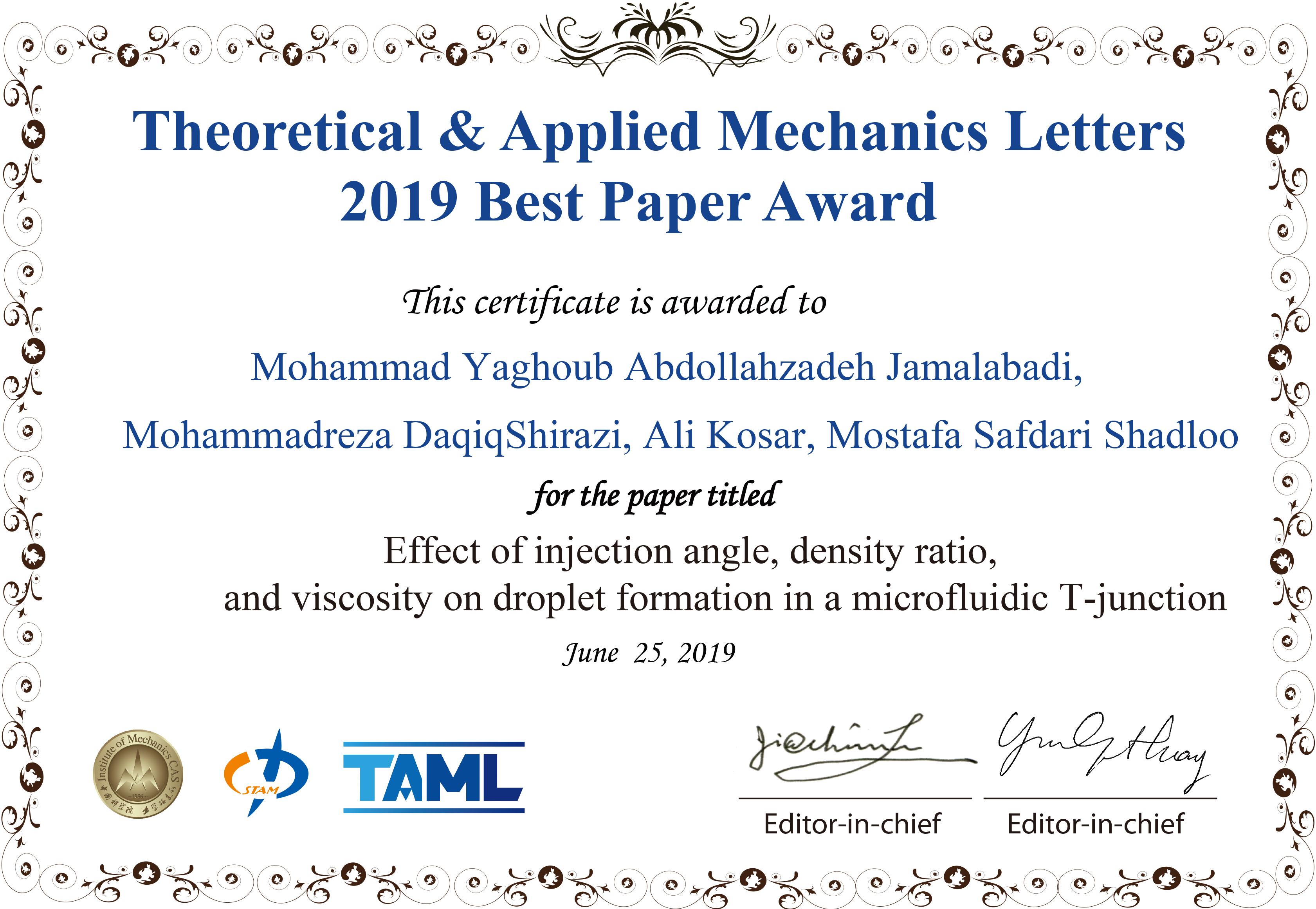 Congratulations to Theoretical & Applied Mechanics Letters 2015 Best Paper Award Winners